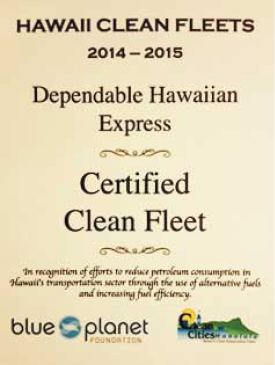 DHX Blue Planet Clean Fleet Certificate