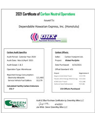 Certificate of Carbon Neutral Operations for Honolulu