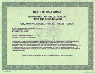 DHX-Dependable Hawaiian Express is FDA Organic Processed Products Registered in Oakland