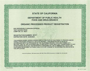 DHX-Dependable Hawaiian Express is FDA Organic Processed Products Registered in Los Angeles